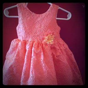 ❤Peach Lacey dress with flower detail.